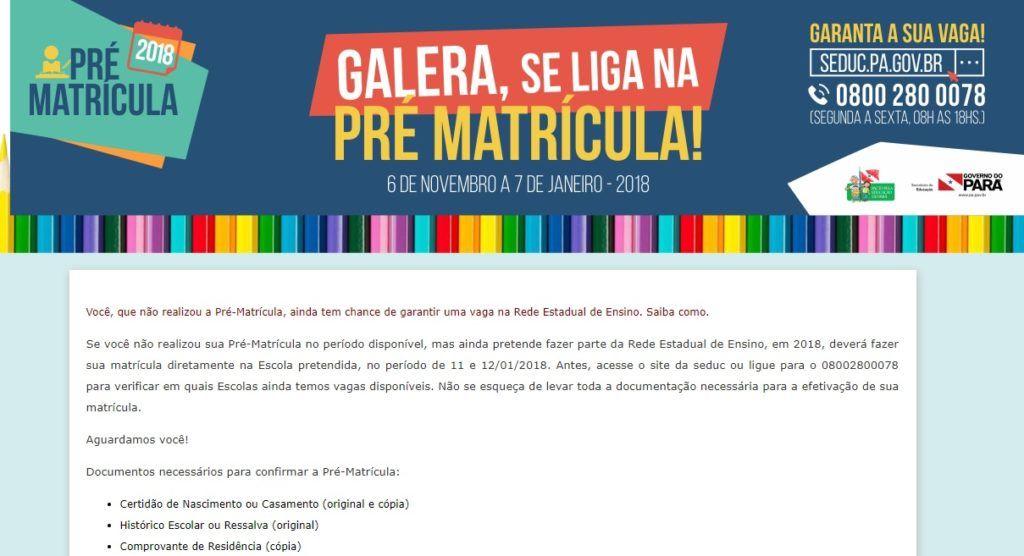 Inscrições Pré Matrícula Fácil Belém PA 2020