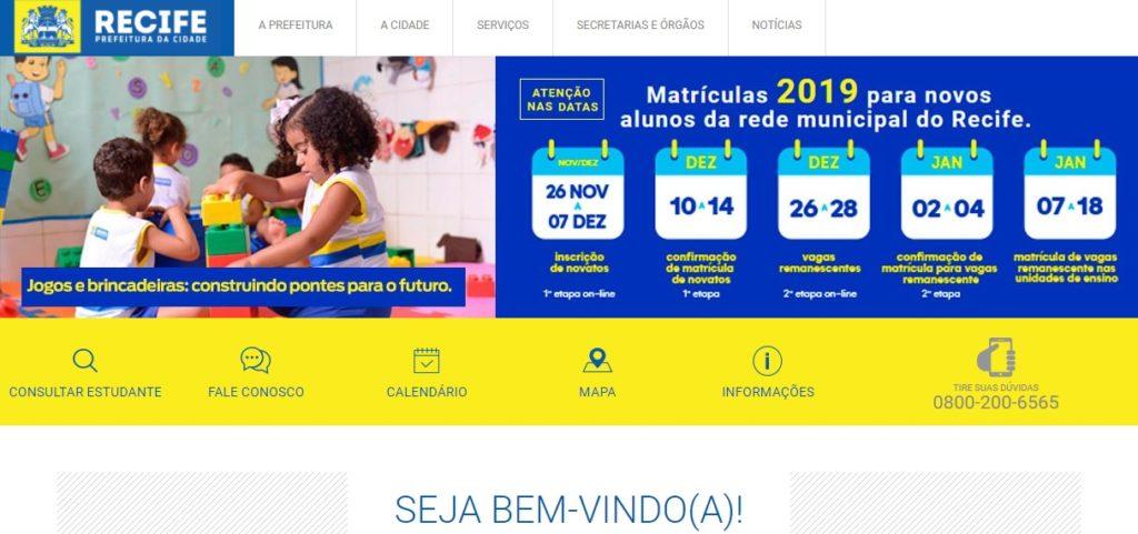 Pré matrícula online Recife 2020