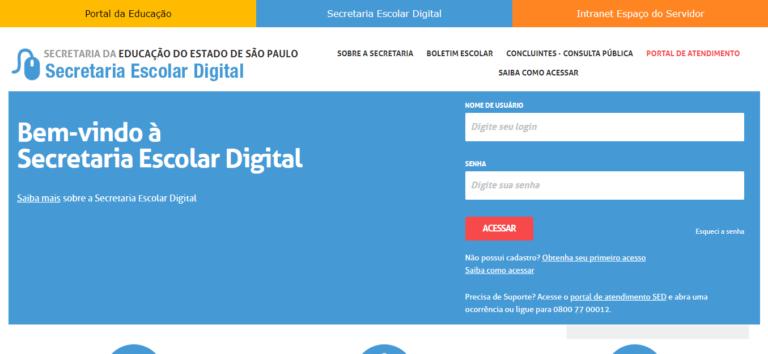 Portal da Secretaria de Educação de São Paulo