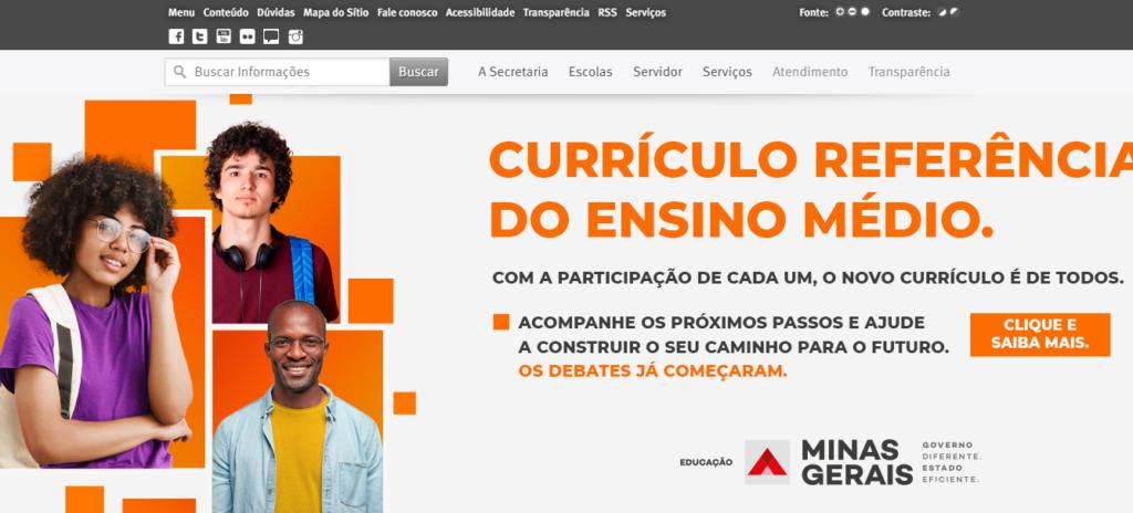 Portal da Secretaria de Educação de Minas Gerais